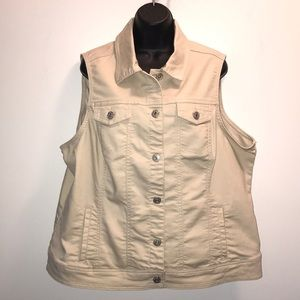 BACCINI Cream Denim Vest~Plus Size 2X~EUC~